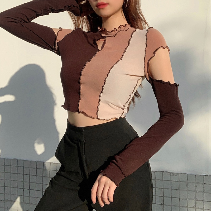 hollow out crochet insert frill top 2021 Patchwork Frill Hollow Out Crop Top Tshirt Women Autumn Long Sleeve T-shirt Basic Top Tees Streetwear Fashion Clothing