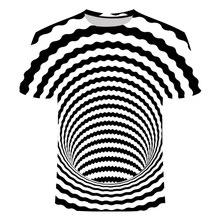 Black and White Swirl T-Shirt Men Women Dizzy T-Shirt 3D Funny Hypnotic T-Shirt Summer Casual Paisley T shirt Streetwear