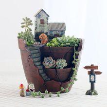 Fairy Flowerpot Garden Plants Pot City of Sky Flowerpot Combination Resin Succulent Plant Pot Flower Basket Home Decoration