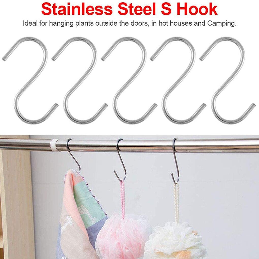 10Pcs Stainless Steel S-hooks Pot Pan Storage Hanging Hanger Household Wardrobe Kitchen Pot Hook Hanging Storage Hook cs 12 24 in s hook s hook not include pot