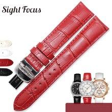 14 16 18mm rouge femmes montre bracelet pour Tissot 1853 Dressport T050 T099 bracelets de montre argent papillon déploiement boucle femmes ceintures