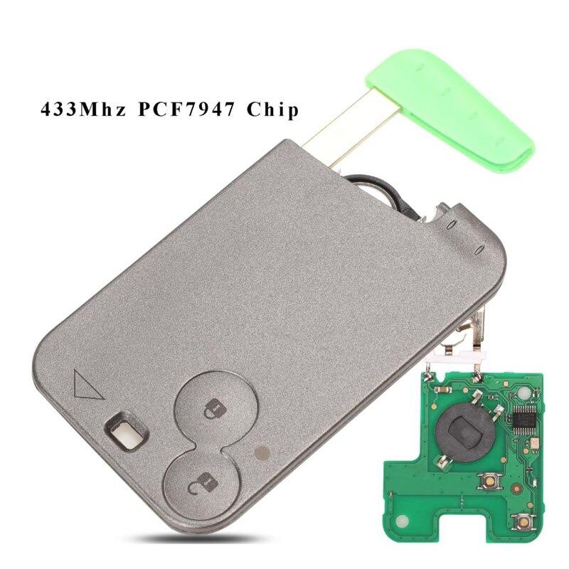 Jingyuqin 10 pçs 2 botões chave de cartão inteligente 433mhz pcf7947 id46 chip transponder para renault laguna espace controle remoto chave do carro