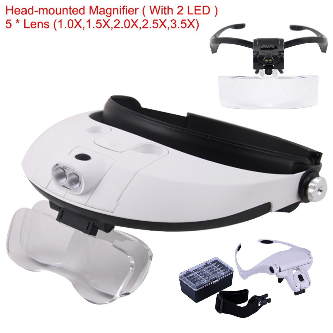 Cinta para la cabeza lupa de reparación de ojos lupa 2 luces LED 1,0/1,5/2,0/2,5/3.5X 5PC gafas lupa lente óptica para herramienta de reparación