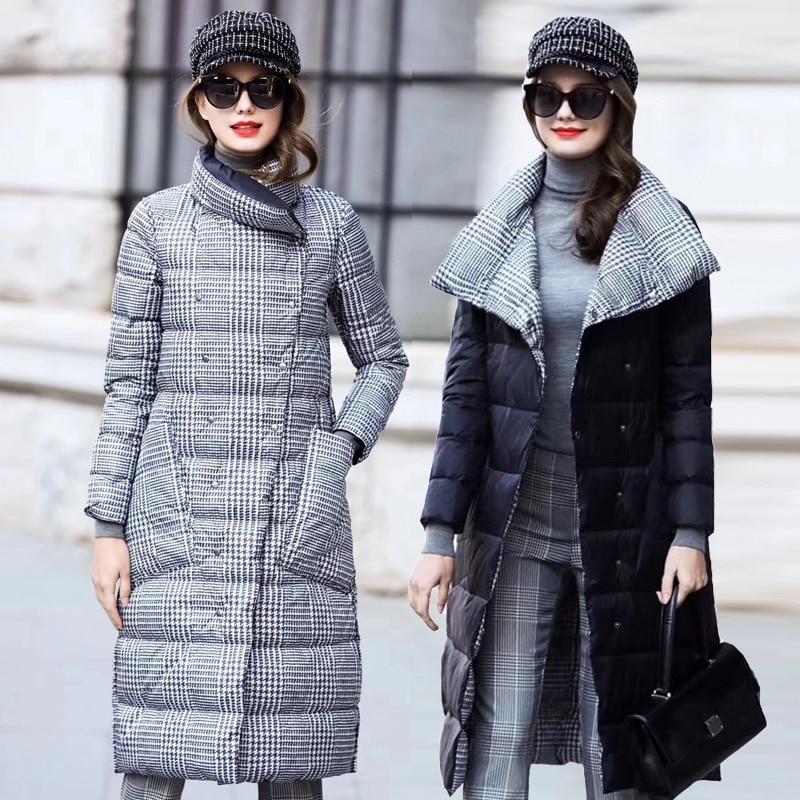 Женская зимняя куртка на утином пуху, длинная толстая двухсторонняя клетчатая куртка, женская зеленая теплая пуховая парка для женщин, обле...