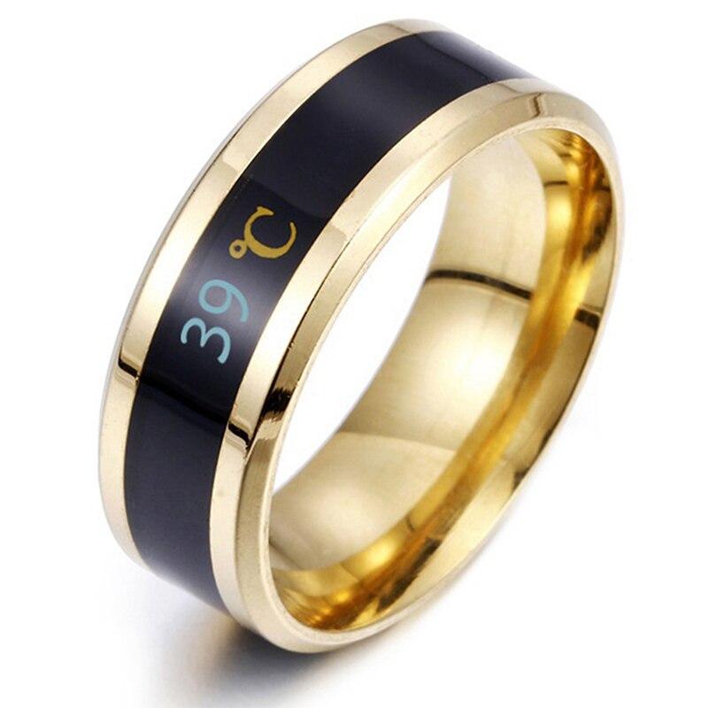 Temperatura à prova dtitanium água anel titanium aço humor emoção sentimento inteligente temperatura sensível anéis para mulher jóias masculinas