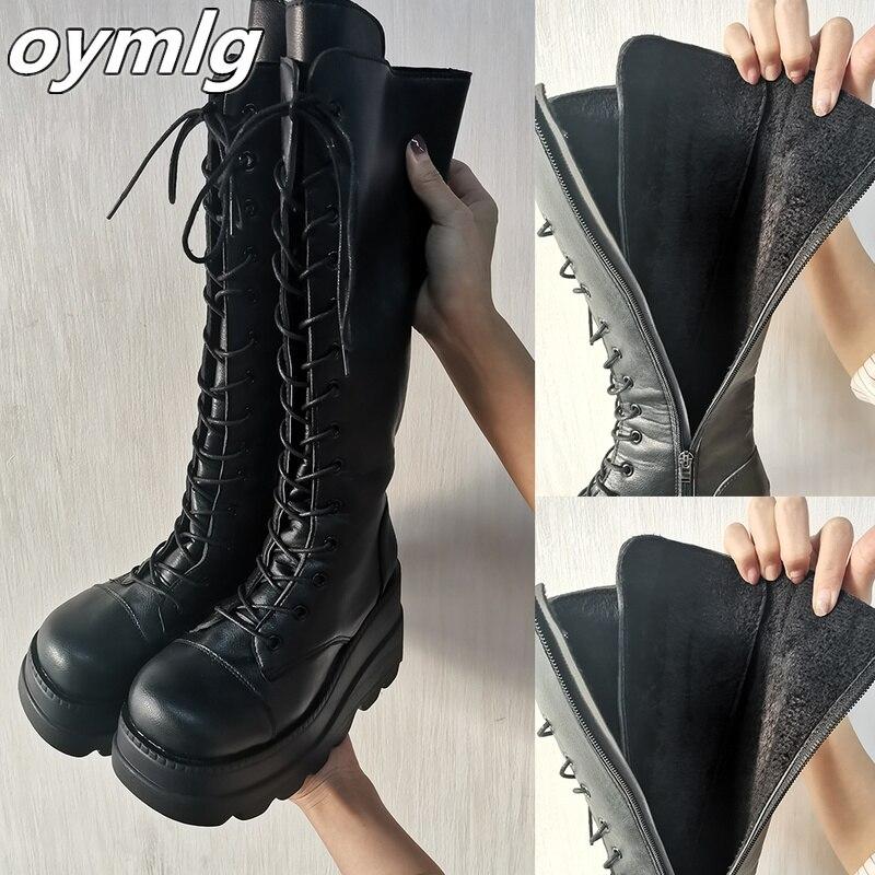 Meados de Bezerro Marca de Fundo Sapatos de Inverno Senhoras Moda Plataforma Botas Chunky Calcanhar Cunhas Femininas Casual Grosso Mulher