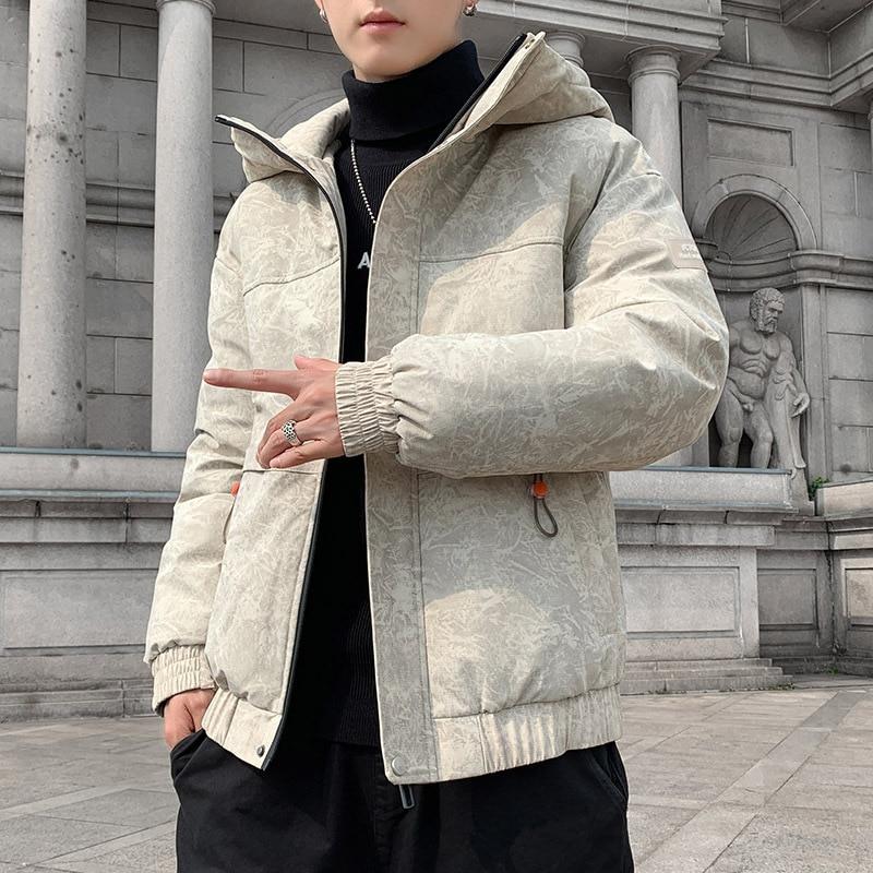 Мужские зимние куртки, новая Корейская хлопковая одежда, короткие мужские Студенческие трендовые брендовые теплые хлопковые пальто с капю...