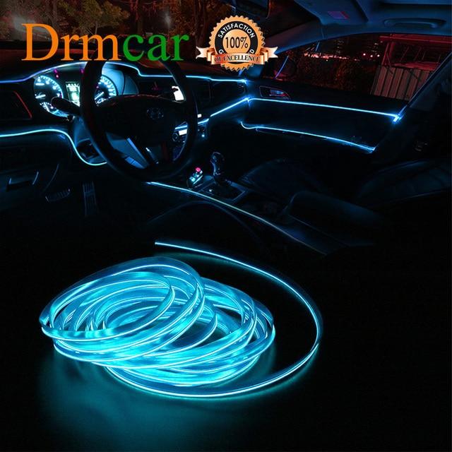 1M/2M/3M/5M Car Interior Lighting Auto LED Strip Wire Rope Tube Line Flexible Neon Light Car Door Light 12V USB Cigarette Drive
