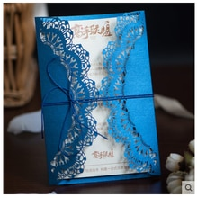 1pcs Gold Blue Red Laser Cut Wedding Invitations Card Elegant Print With Ribbon Wedding Event Birthday Party Decoration