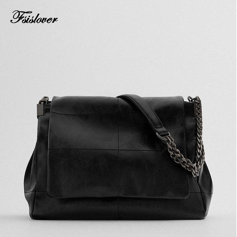 Vintage ببساطة بولي Leather حقائب جلدية Crossbody للنساء 2021 بلون الكتف حقيبة ساعي سيدة سلسلة حقيبة يد للسفر المرأة المحفظة