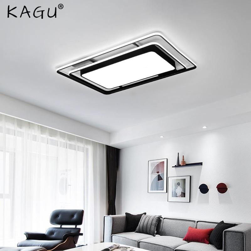 LED Chandelier Lights For Living Dining Room Kitchen Bedroom Home Black Rectangle Indoor Modern Ceiling Lamp Lighting Fixtures