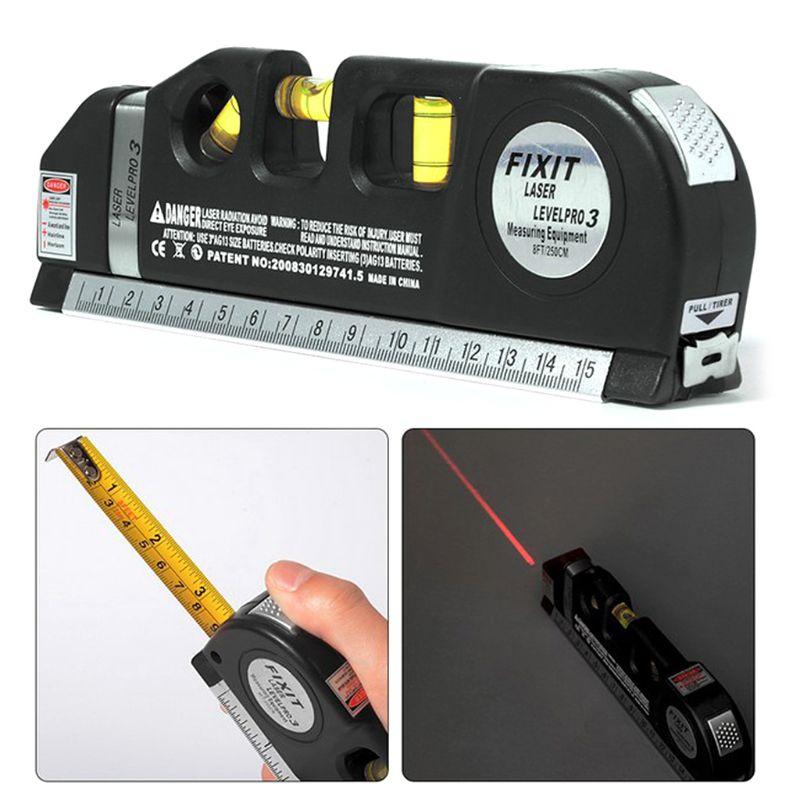 Level Horizon Horizontal Vertical Measure Line Tape Standard and Metric Ruler Multipurpose Lines Instrument