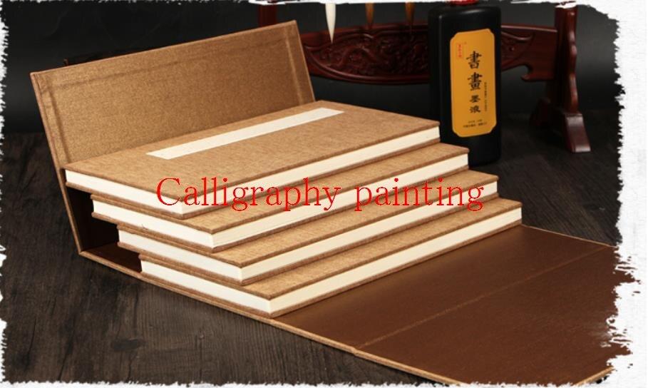 Lote de 4 unidades de brochas de papel Xuan con doble arroz, calligrafo y pintura, cuaderno plegable sumi-e de 16x32cm