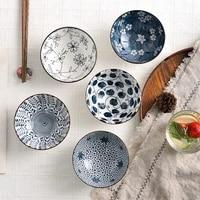 4pcsset 4 5 inches chinese ceramic bowl salad ramen rice noodle dessert bowl household soup bowls enamel bowl set tableware