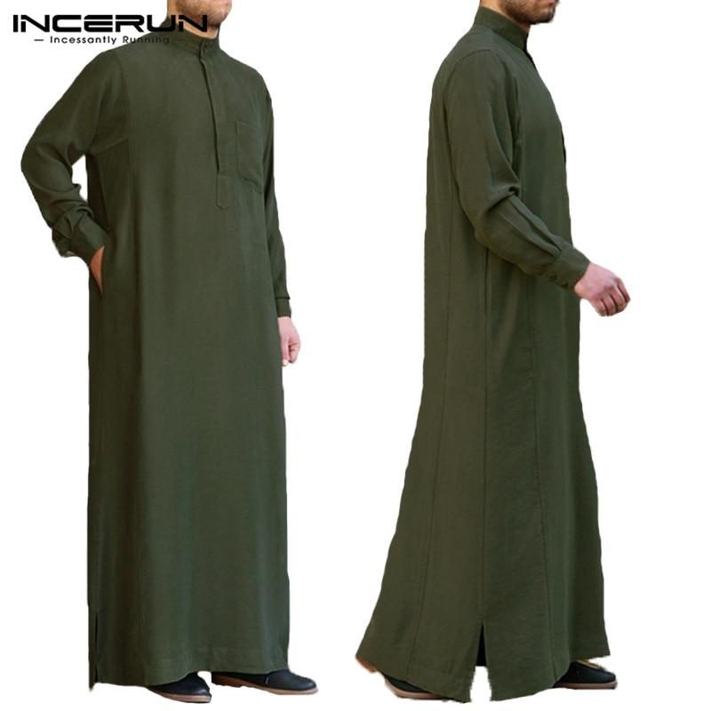 INCERUN Men Muslim Islamic Kaftan Arab Vintage Long Sleeve Robe Men Jubba Thobe Loose Dubai Saudi Arab Kaftan Men Clothing S-5XL
