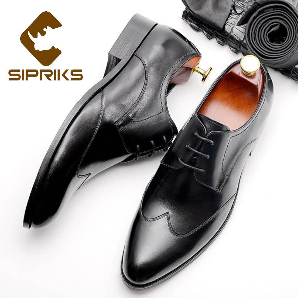 Sipriks masculino couro genuíno wingtip vestido sapatos casuais borgonha sapatos sociais elegante preto escritório sapatos de festa casamento italiano