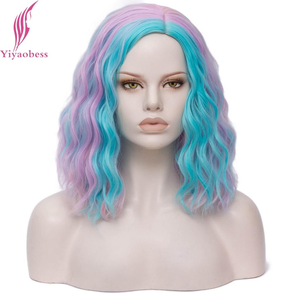 Peluca corta Yiyaobess de 16 pulgadas, peluca sintética ondulada, pelucas de Color de pelo para mujeres, Lolita, arcoíris, verde, morado, azul, rosa, rojo, peruzas