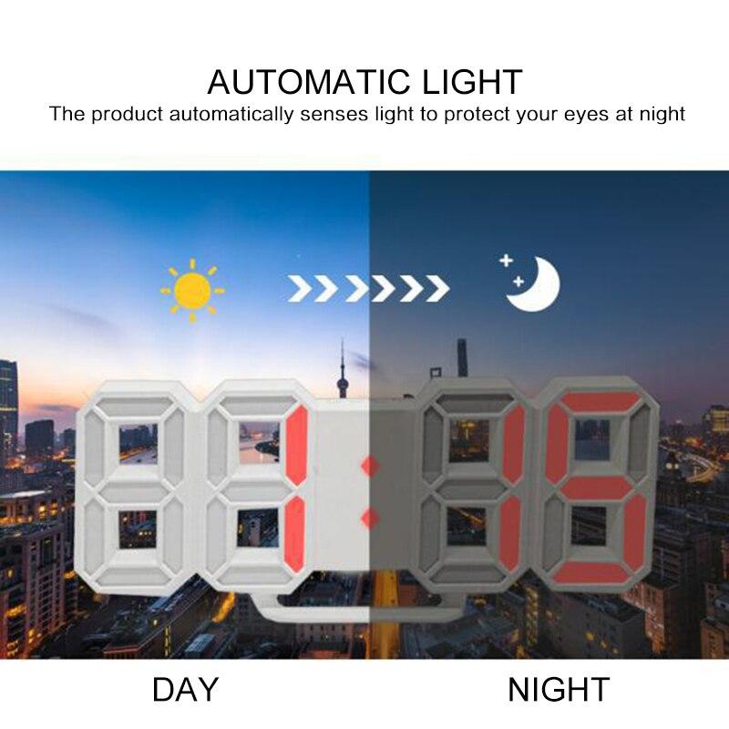 3D LED Digital Reloj de visualización reloj despertador LED Digital colgante de pared 3D reloj de mesa calendario pantalla brillo ajustable