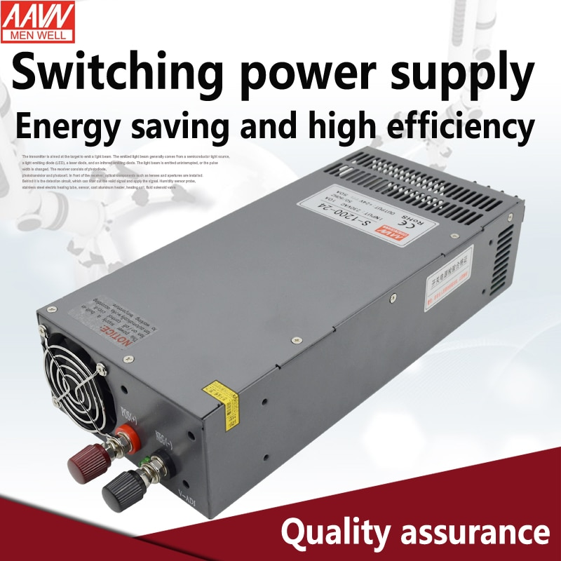 S-1200-24 1200W 24v Power Supply ac to dc 24v 50A AAVN WEN WELL  brand High power low price factory sales