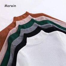 Marwin-suéteres de cuello alto, camisa de manga larga, corto, coreano, ajustado, otoño e invierno, novedad