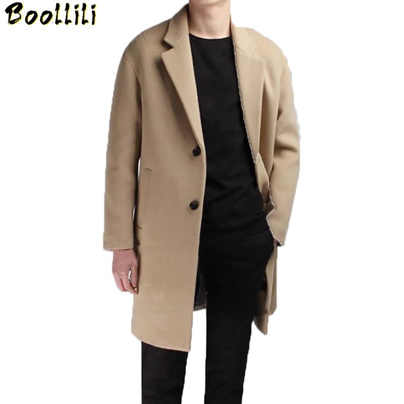 Boollili Medium Long Coat Wool Men Brand Clothing Pea Jacket Turn-down Collar Thicken Black Mens Coat Overcoat Camel Mens Coats