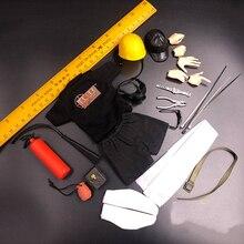 Juego de Herramientas de casco de bombero de ingeniería de explorador de escala 1/6 para modelos de accesorios de 12 pulgadas