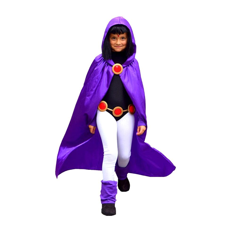 Deluxe teen titan raven traje para cosplay & halloween 4 pçs/1 conjunto traje de halloween crianças & adulto szie