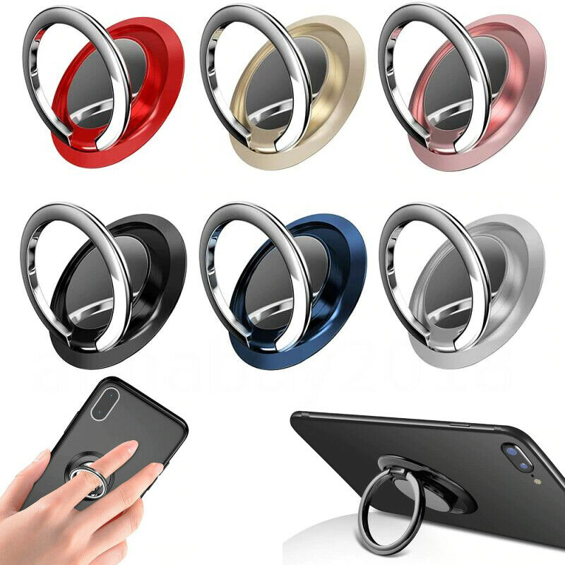 حلقة الاصبع حامل حامل قبضة 360 الدورية للهاتف المحمول سيارة المغناطيسي جبل الهاتف الخلفي ملصق الوسادة Unniversal قوس
