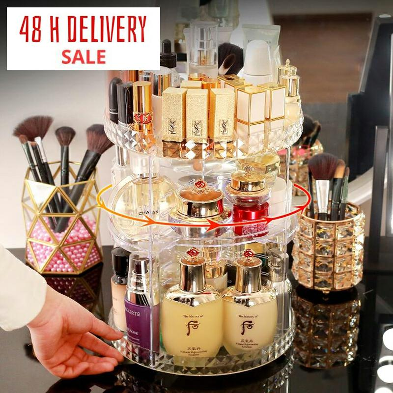 360 Degree Rotating Cosmetic Storage Box Makeup Organizer Cosmetics Storage Rack Fashion Crystal helf Display Stand High Capacit