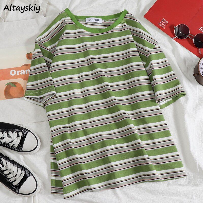 T-shirts Women Stripe Sweet Kawaii Young Girls Couple Loose Oversize Preppy Style Korean Summer Plus Size Ins O-Neck Tees Chic