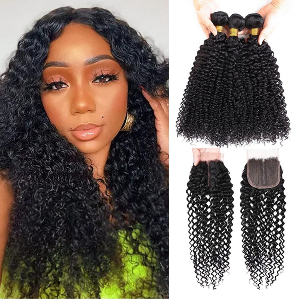 Indian Curly Human Hair Bundles With Closure Utrue 100 % Remy Human Natural Black T Part Lace Closure With Bundles