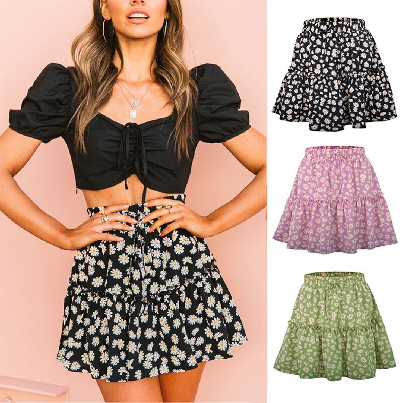 2020 Ladies Cute Green Frilled Trim Ditsy Floral Print Skater Mini Skirt Women Boho Casual Beach Vacation Mid Waist Summer Skirt