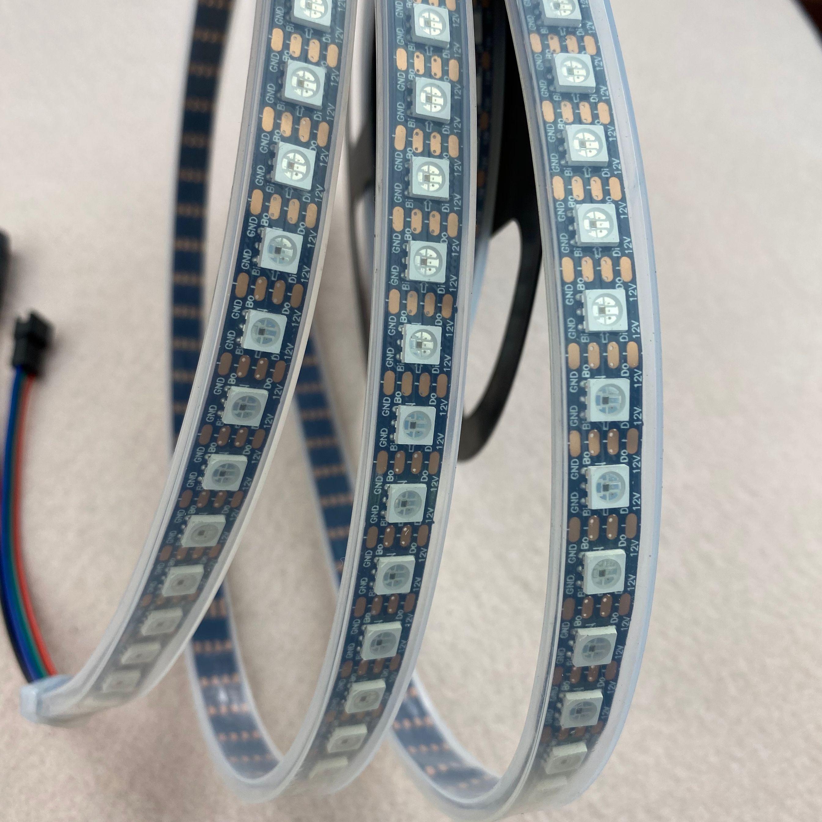 PRETO PCB 96 60leds/m WS2815 DC12V endereçável full color RGB 5050 tira CONDUZIDA; 3m/reel; à prova d água no tubo de silicone; IP66