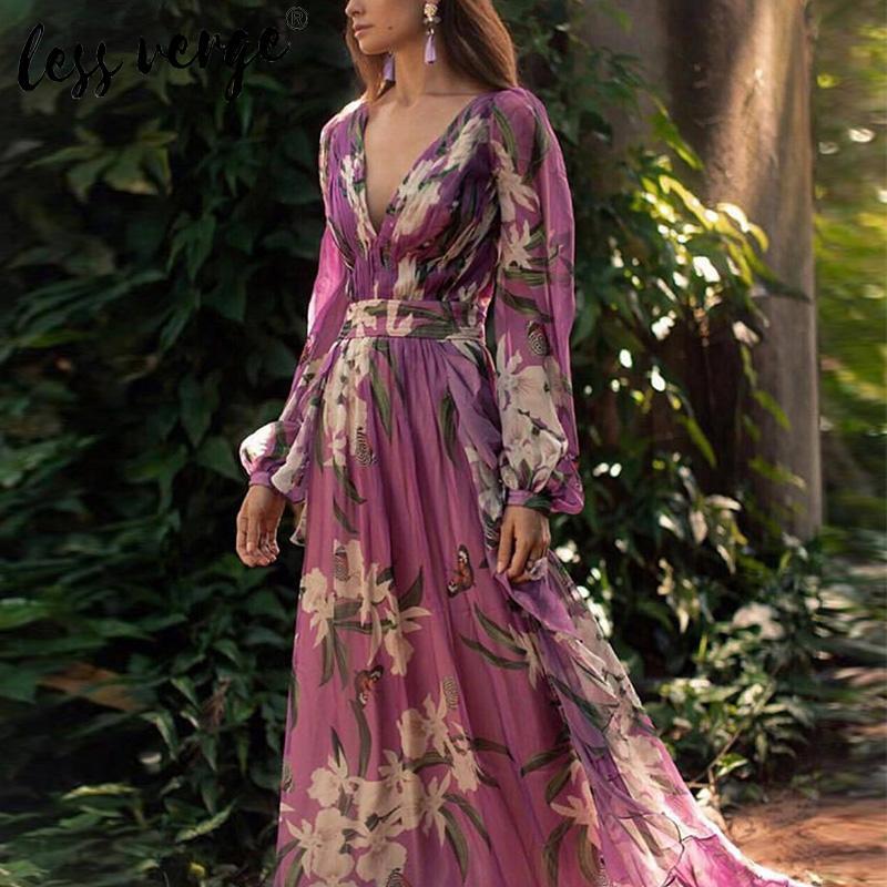 Vestido maxi bohemio elegante de verano con estampado floral para mujer, vestido de gasa de playa púrpura con cuello en v sexy de manga larga, vestido largo vintage de vacaciones