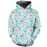 new 3d printed sweatshirt suitable for nurses men women unisex zippers pullovers casual street fashion jackets
