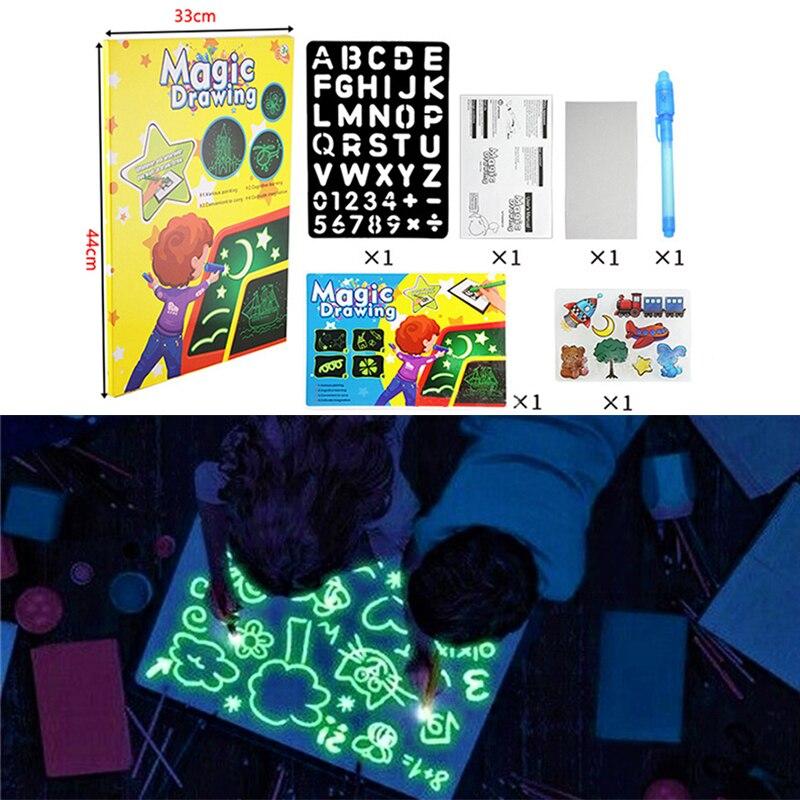1PCS A4 A5 LED זוהר ציור לוח גרפיטי שרבוט ציור Tablet קסם לצייר עם אור-כיף פלורסנט עט חינוכי צעצוע