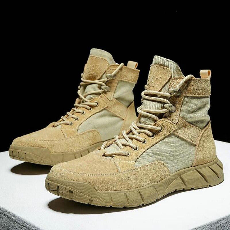 الرجال جودة عالية حقيقية حذاء برقبة عالية من الجلد تصميم عسكري قوة خاصة التكتيكية الصحراء القتالية الرجال في الهواء الطلق حذاء من الجلد A55-49