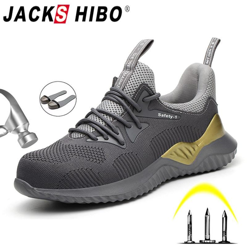 JACKSHIBO سلامة العمل الأحذية الأحذية للرجال الصلب غطاء اصبع القدم الأحذية مكافحة تحطيم واقية البناء سلامة العمل