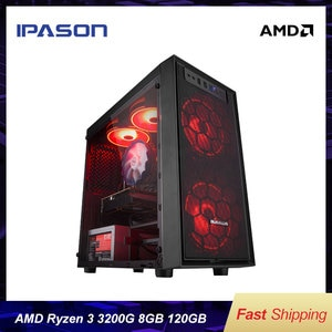IPASON-E1 mini-Gaming PC AMD Ryzen 3 2200G/3200G DDR4 4G/8G 120G SSD Desktop Computer HDMI/VGA LOL/CSGO/DOTA For Gamers Computer