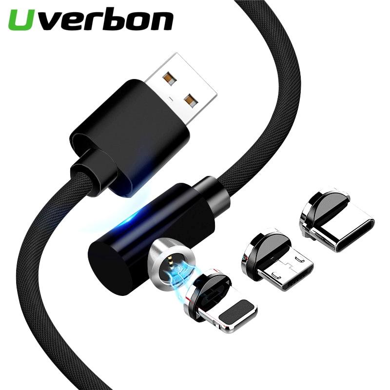 Cable de carga de 90 grados Magent cargador tipo C Cable USB C Cable de carga rápida Micro USB Cabo para Samsung iphone XM Magenetic Cable