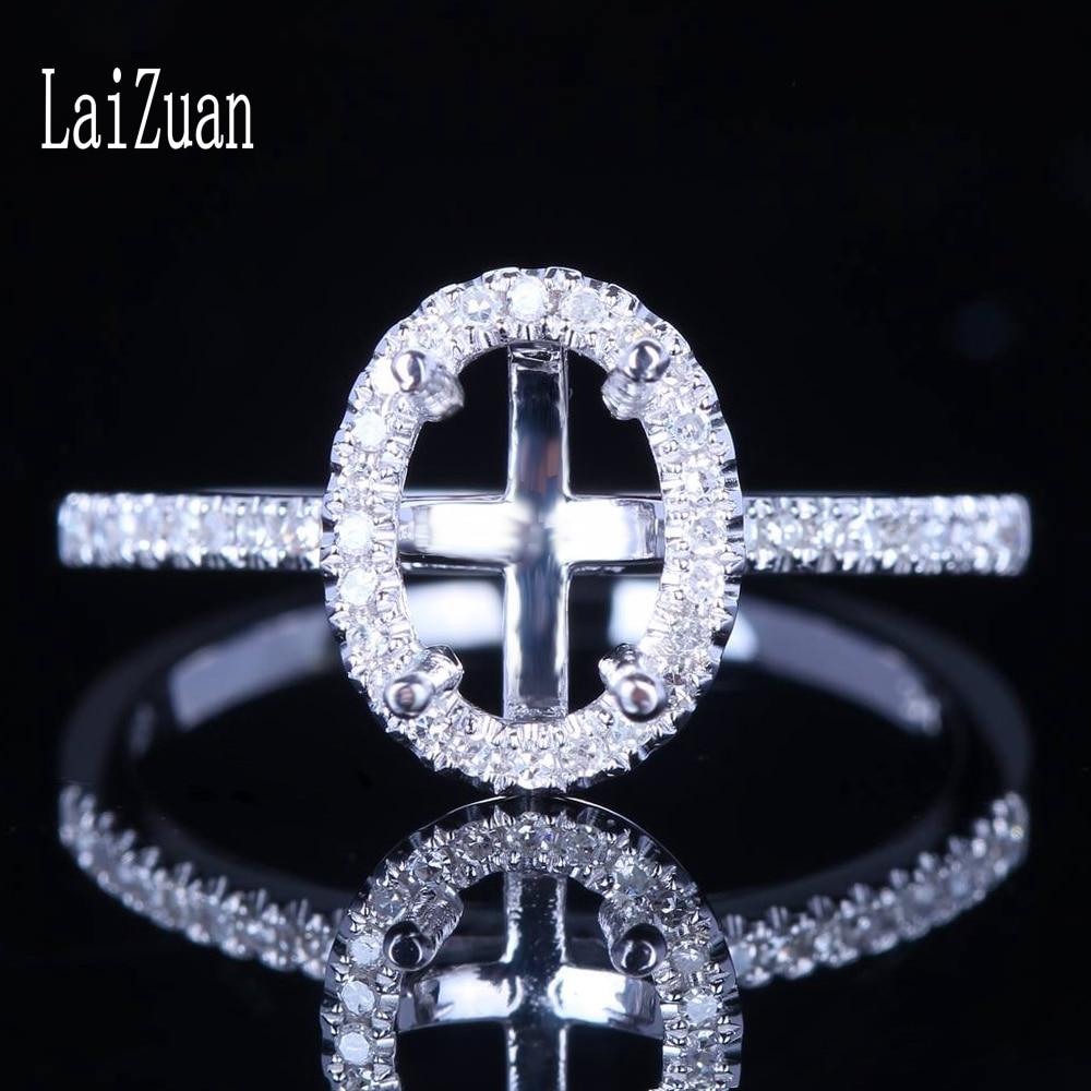 LaiZuan-خاتم من الذهب الأبيض عيار 10 قيراط مرصع بالألماس الطبيعي ، مجوهرات صلبة ، قطع بيضاوي معتمد ، 7.5 × 5 مللي متر ، خاتم خطوبة زفاف شبه مثبت