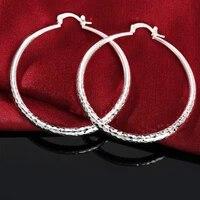 new fashion 925 sterling silver earrings for women street all match jewelry 5cm big circle earrings ear loop hanger gifts