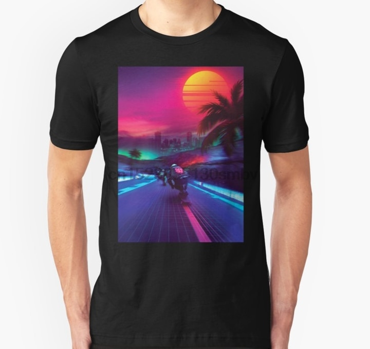 Hombres camiseta Synthwave medianoche Outrun Unisex camiseta mujeres camiseta top