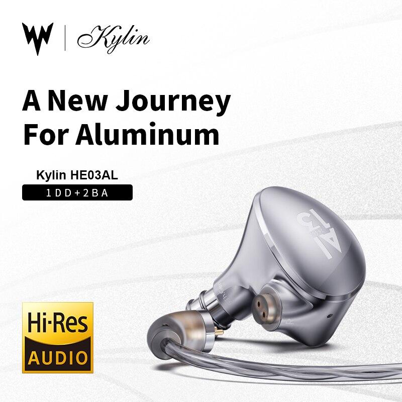 Whizzer Kylin HE03AL في الأذن سماعة نولز BA + DD ثلاثة وحدة الهجين محرك التكنولوجيا iem 0.78 3.5 مللي متر 2PIN انفصال HIFI سماعات الأذن