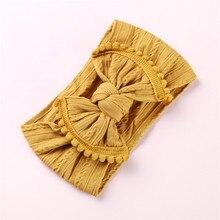 Bandeaux en Nylon tricotés larges 1 pièce   Couvre-chef en Nylon à bordure pompon, couvre-chef en Nylon à nœud, Turban, accessoires de cheveux pour filles
