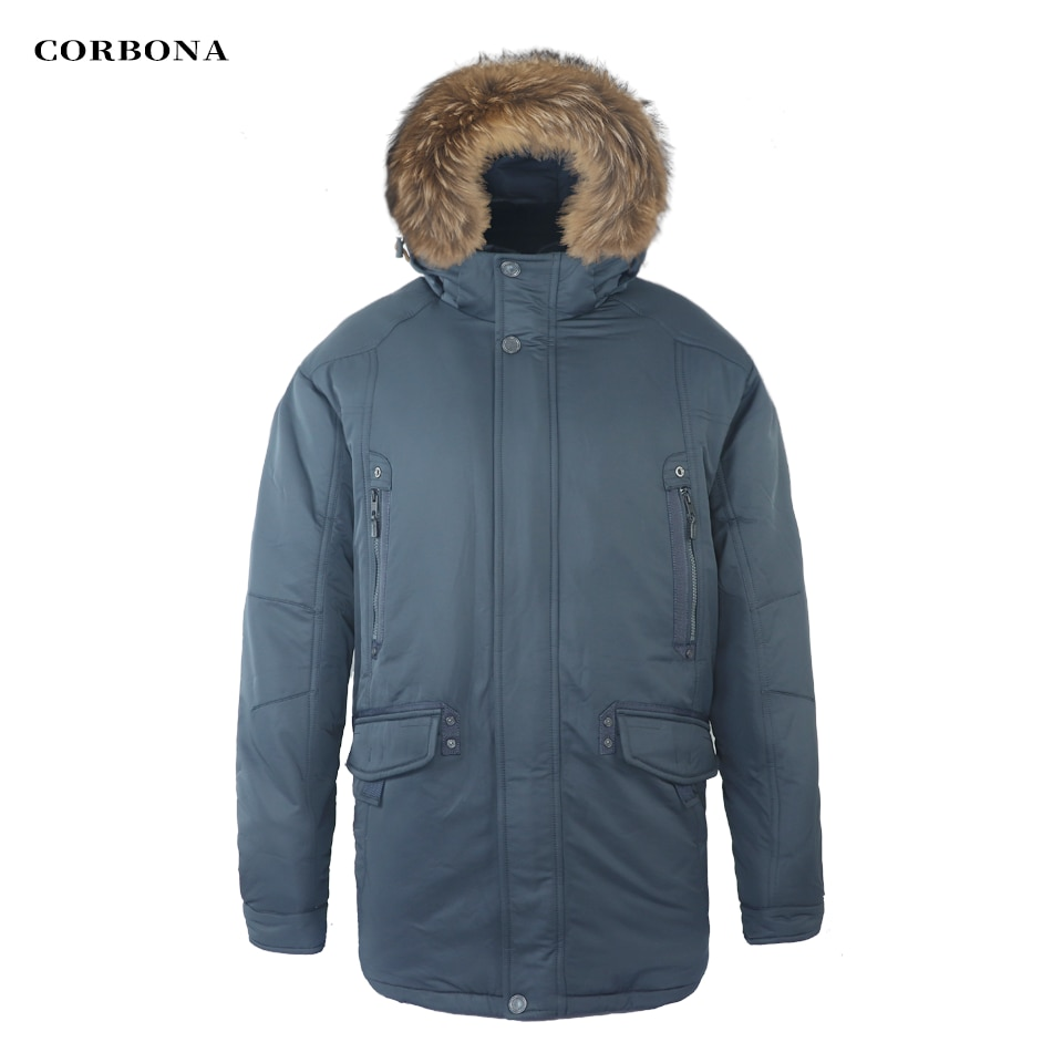 Мужская длинная куртка с воротником CORBONA, черная Повседневная Толстая куртка большого размера из хлопка, зима 2021