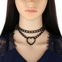 Tout noir coeur chaîne tour de cou goth filles collier grunge style punk chokers harajuku kawaii collier chocker halloween accessoires