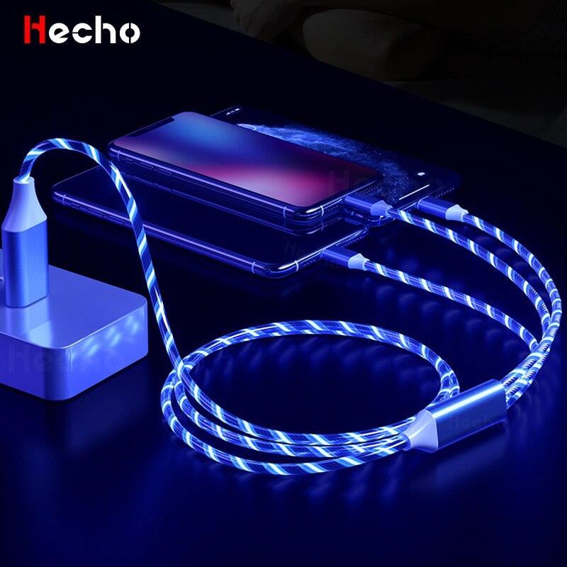 Cable USB de iluminación luminosa 3 en 1 para iPhone 12, 11...