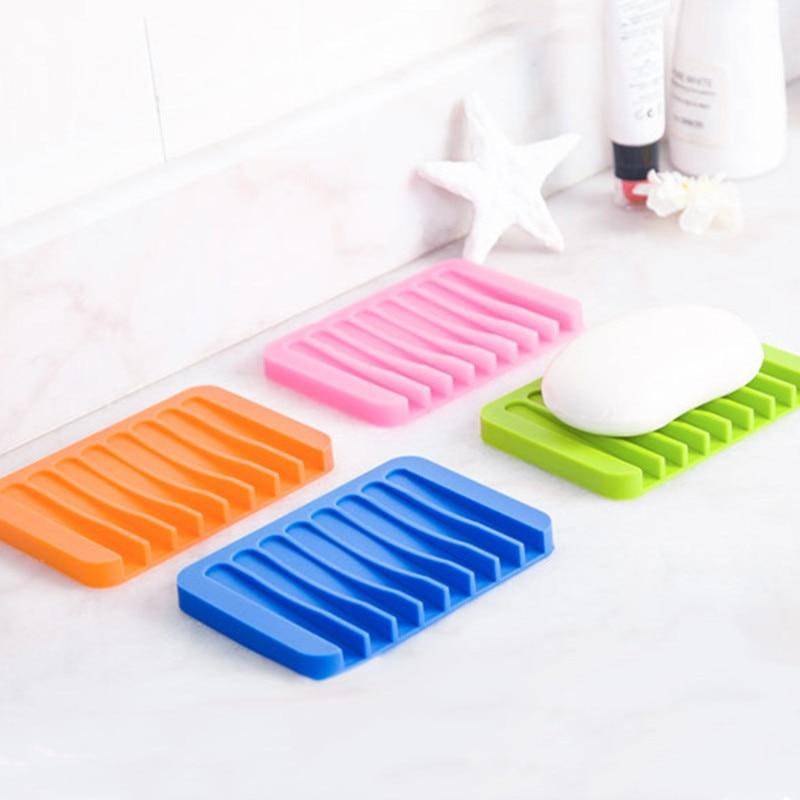 Nuevo creativo de silicona jabón platos 4 Color Baño Gadgets Flexible de silicona placa bandeja de drenaje baño herramientas de soporte de almacenamiento de la caja de jabón