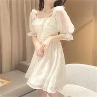 lace chiffon japan style kawaii elegant vintage vestidos 2021 french summer women white puff sleeve korean style fairy dress new